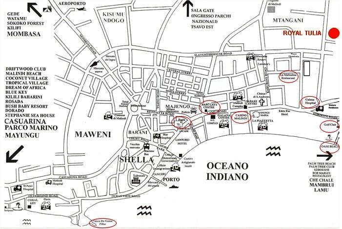 Mappa di Malindi