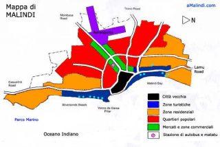 Mappa di Malindi a zone